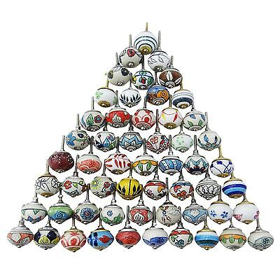 14 Mixed Assorted Hand Painted Ceramic Door Knobs Cabinet Drawer Pulls knobs