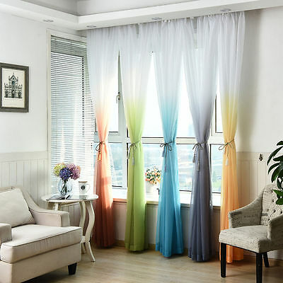 Coloful Door Window Curtain Gradient Tulle Voile Drape Panel Sheer Valance 2.7m