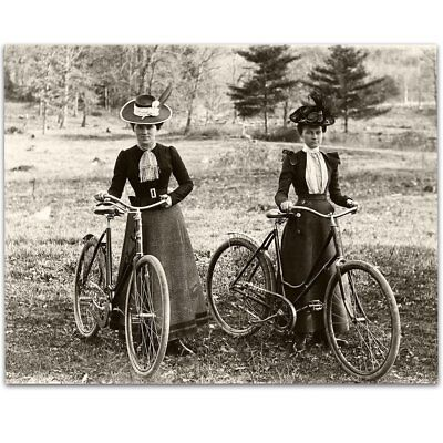 Bicycle Riders Victorian Women 1890s Vintage Photo - 11x14 Unframed Print