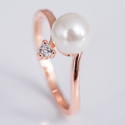 18 K Rose Gold Plated Round Cut White Pearl Women Wedding Ring Size 6-10