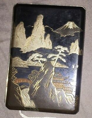 Antique Hand Chased Japanese Gold Bronze Okubo Cigarette Case (Please Read!)