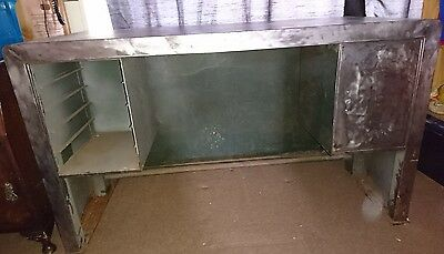 Large Industrial Metal Desk Stripped vintage steam punk project upcycle