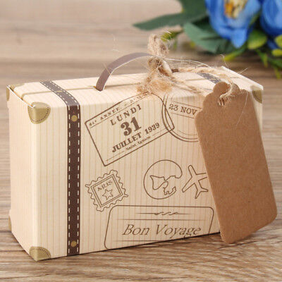 50Pcs Wedding Favor Mini Suitcase Gift Box Kraft Candy Boxes Party Supply New