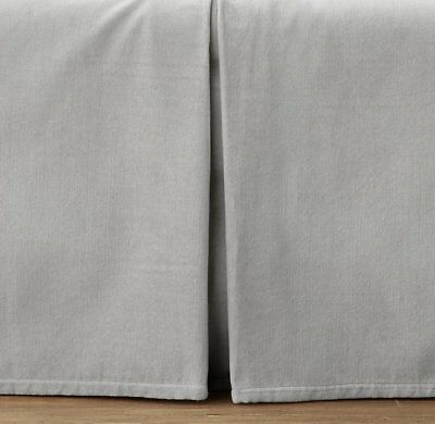 Restoration Hardware Baby Grey Velvet Crib Skirt Boy Girl Gender Neutral