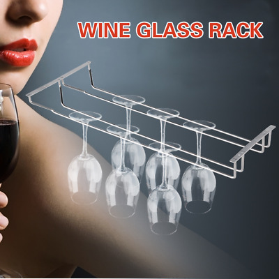 "35cm/13"" Wine Glass Rack Under Cabinet Hanging Stemware Holder Hanger Shelf Bar*"