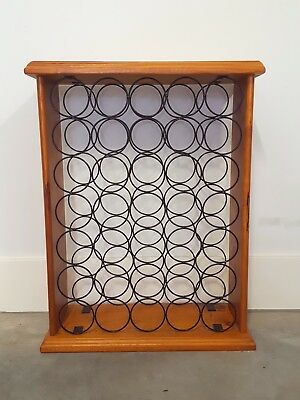 35-bottle wine rack - timber and black metal - used, good condition