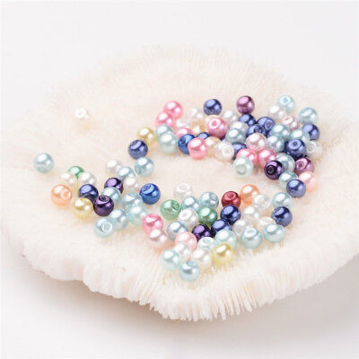 100 Pcs Dyed Glass Pearl Round Bead Strands Mixed Color 4~4.5mm Hole 0.7~1.1mm