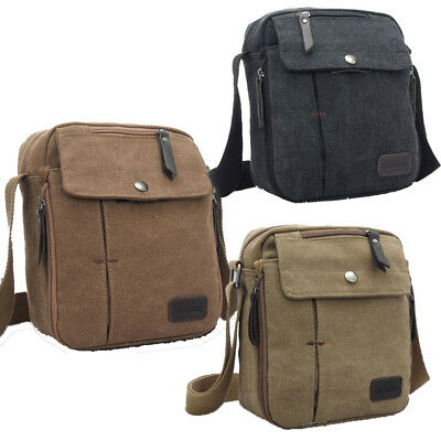 8152f62f8b58 VINTAGE MENS SMALL Canvas Shoulder Bag Leather Satchel School ...