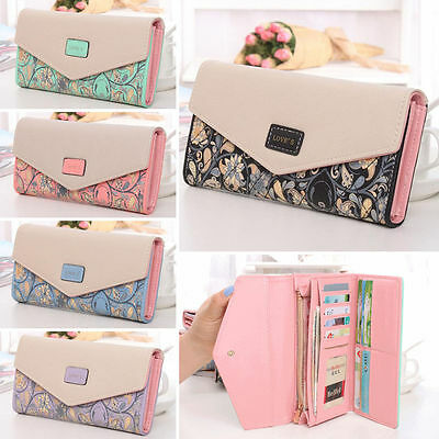 Womens PU Leather Clutch Wallet Long Card Holder Purse Envelope Handbags Fashion