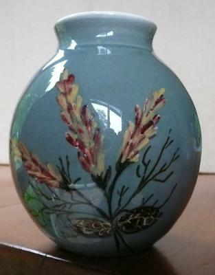 Vintage Martin Boyd Vase With Wildflower Decoration Australian Pottery