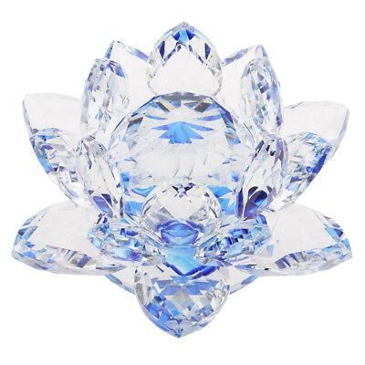 Crystal Lotus Flower Buddhist Ornament Feng Shui Art Glass Paperweight Blue