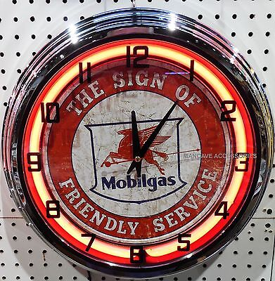 "17"" MOBIL Mobilgas The Sign of Friendly Service Pegasus Sign Neon Clock"