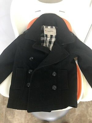 Black Burberry Coat Baby Size 2, 1-2 Years Old
