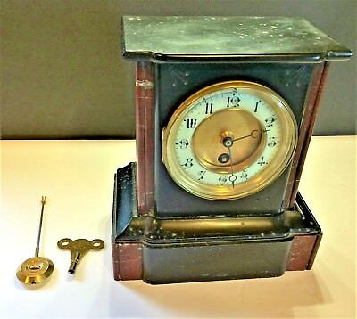 ANTIQUE FRENCH MARBLE MANTLE CLOCK-late 1800's