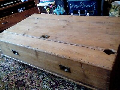 """OLD VINTAGE PINE CHEST Box Coffee Table WOODEN TRUNK Country Rustic 54.5"""" x 31.5"""