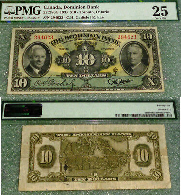 1938 $10 Canada, The Dominion Bank -Chartered Banknote