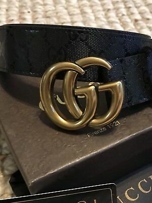 Black GUCCI BELT WITH GOLD/BRASS DOUBLE G HARDWARE