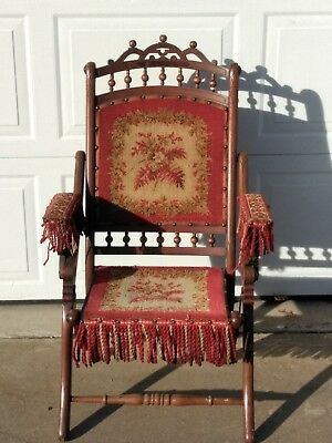 Antique Victorian Etched Stick & Ball Tapestry Carpet Bag Seat Folding Chair