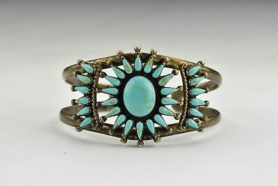 Zuni Indian Sterling Silver & Turquoise Bracelet
