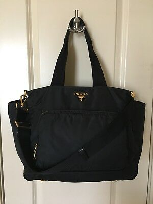 Authentic Prada Nylon Diaper Bag Black-Gold Hardware