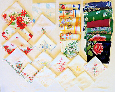 VTG Antique Womens Ladies Handkerchiefs Lot of 27 Embroidered Lace Flowers NICE!