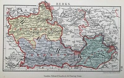 1885 Antique map - Berkshire - from Stanford's County atlas of England