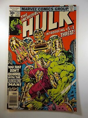 The Incredible Hulk #213 The Quintronic Man! VG/VG+ Condition!!