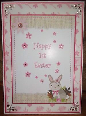 Handmade personalised children's 1st Easter card a cute bunny rabbit in pink