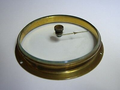 """Antique Barometer Spare Parts : 2 3/4"""" Brass Bezel + Bevelled Glass With Pointer"""