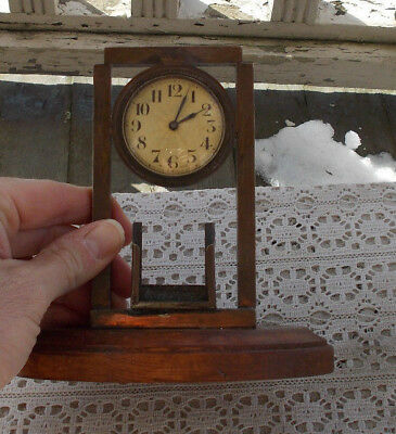 RARE Vintage Wooden Bronze Shelf Wind Up Clock & Match Holder Swiss Made Works