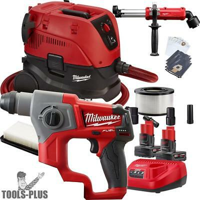 "Milwaukee 2416-22XC 5/8"" M12 FUEL SDS+ Rotary Hammer w/HEPA Dust Extraction New"