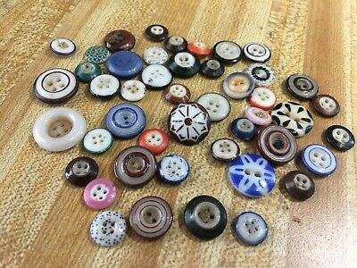 Lot of Antique Victorian Era Dress Clothing Colorful Milk Glass Buttons  46 pcs