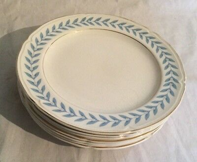 Vintage Antique Edwin Knowles Blue Laurel Lot of 7 Salad Plate Plates 1948