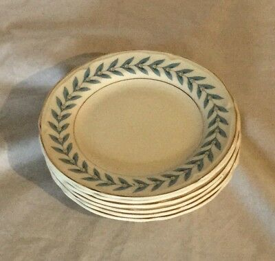 Vintage Antique Edwin Knowles Blue Laurel Lot of 6 Bread Butter Plate 1948