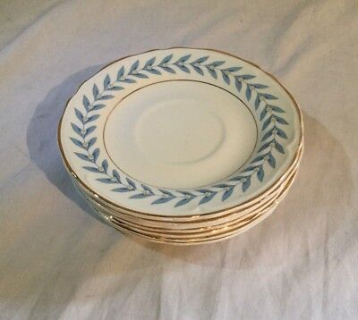 Vintage Antique Edwin Knowles China Blue Laurel Lot of 7 Saucer Coffee Tea 1948