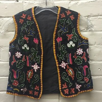 Gorgeous Vintage M Unisex Child Fully Embroidered Vest Colorful Ethnic EC