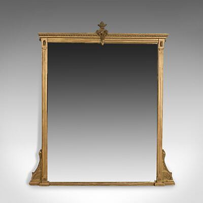 Antique Overmantel Mirror, English Victorian, Classical Revival, Wall Circa 1880