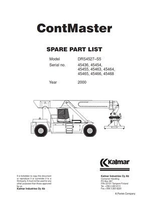 Kalmar Contmaster Spare Part List Drs4527-S5 Manual Reprinted 2000 Comb Bound