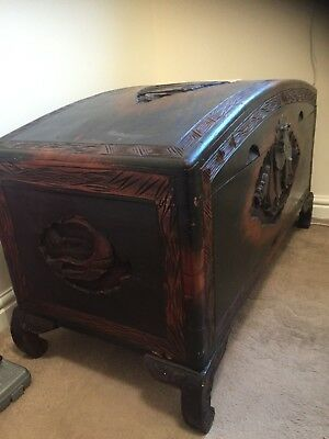 large Oriental Carved Camphor Wood Chest Blanket Box Ottoman Trunk Storage Box