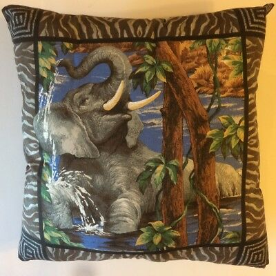 New 14 X 14 Elephant In Water Animal Theme Pillow - Complete Cotton Pillow