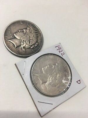 2   Silver Piece Dollars. 1921 and  1922d. Circulated.