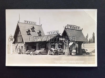 Stuart TEXACO Gas Station Yellowstone Natl Park Real Photo Postcard Montana