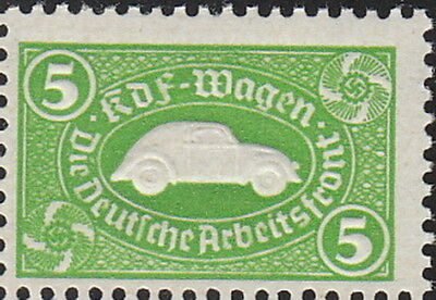 Stamp Germany Revenue WWII Fascism VW Emblem War KDF Volkswagen Green MNG