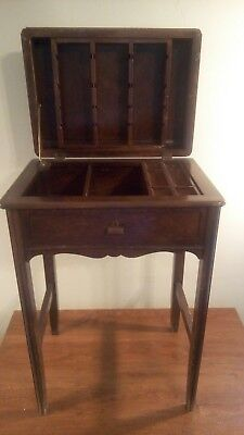 "Vtg Wood Sewing Box? 24""Standing Style Wooden Table Storage Chest Craft Cabinet"