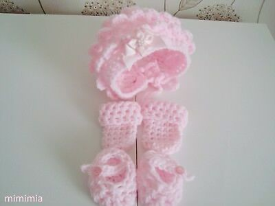 baby girl baby pink crochet  bonnet  hat , mittens ,booties, hand made