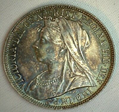 1895 Silver Florin Two Shilling Great Britain UK Coin UNC