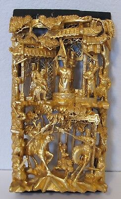 Chinese Deep Relief Gilt Carved Wood Panel Warriors & Emperor Horses