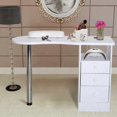 Wooden White Nail Technician Desk Manicure Table Salon Steel With Storage Drawer