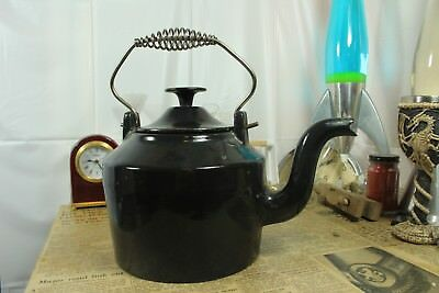 """Large and Very Heavy vintage Cast Iron Enamelled Kettle 1.7L """"Le Miranton"""""""