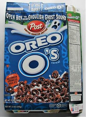 2001 Post Oreo O's 12 oz. Capacity Ghoulish Ghost Limited Edition Cereal Box